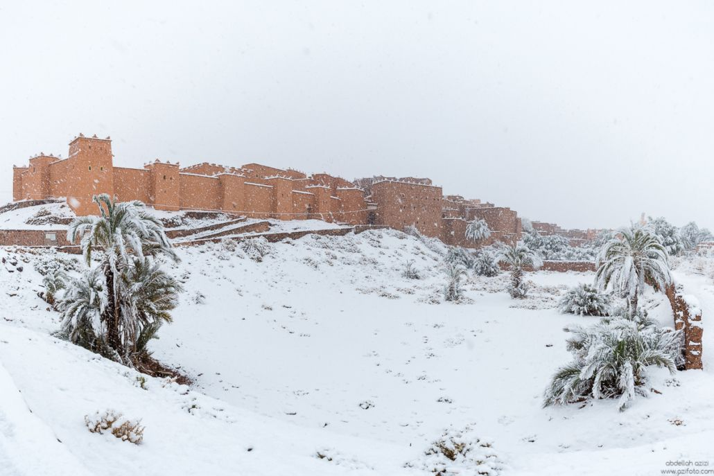 Taourirt Kasbah under snow Ouarzazate, Morocco