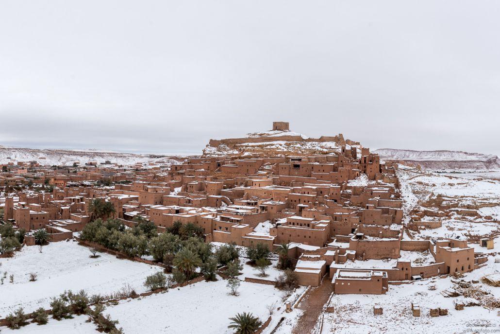 Ksar Ait Ben Haddou, Snow fall in Ouarzazate reportage