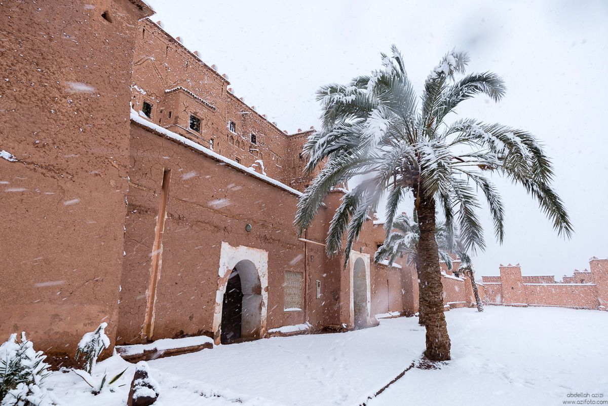 In Ouarzazate, First snow in 30 years - Kasbah Taourirt
