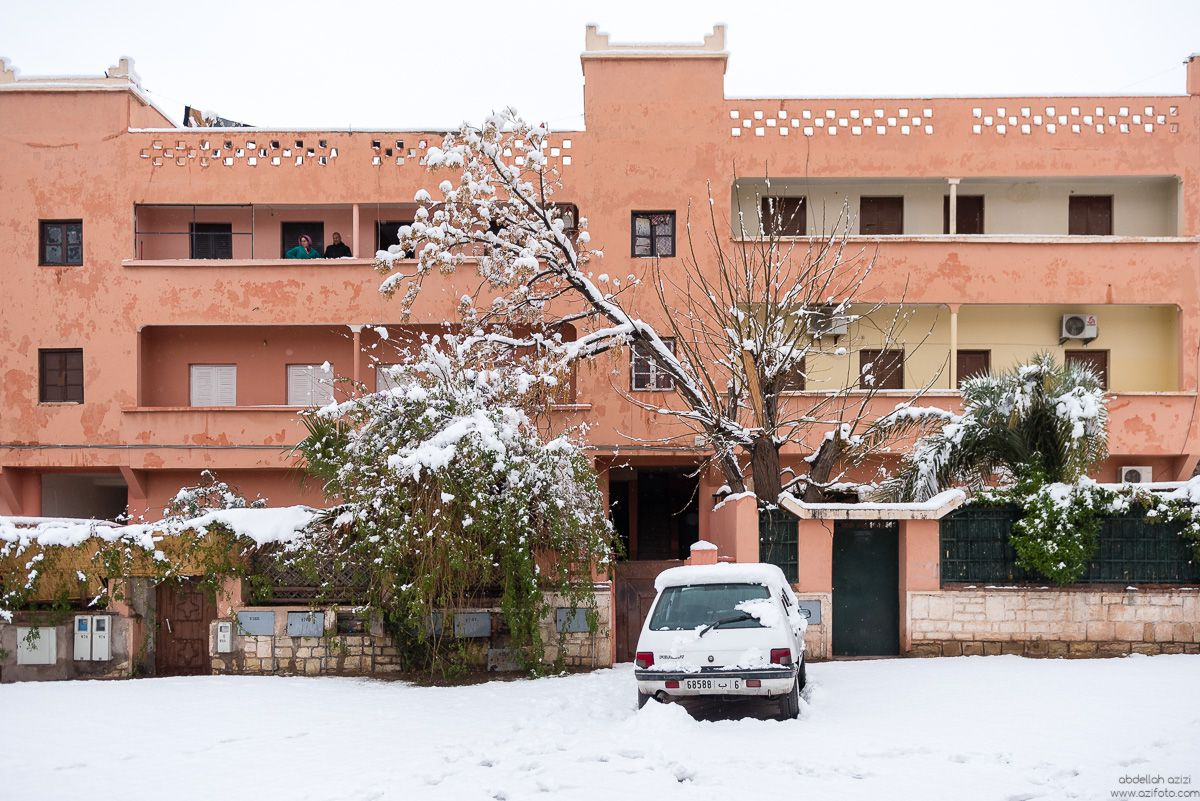 In Ouarzazate, First snow in 30 years