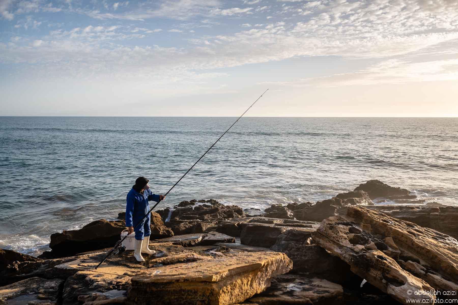 Fishing Taghazout beach , Morocco
