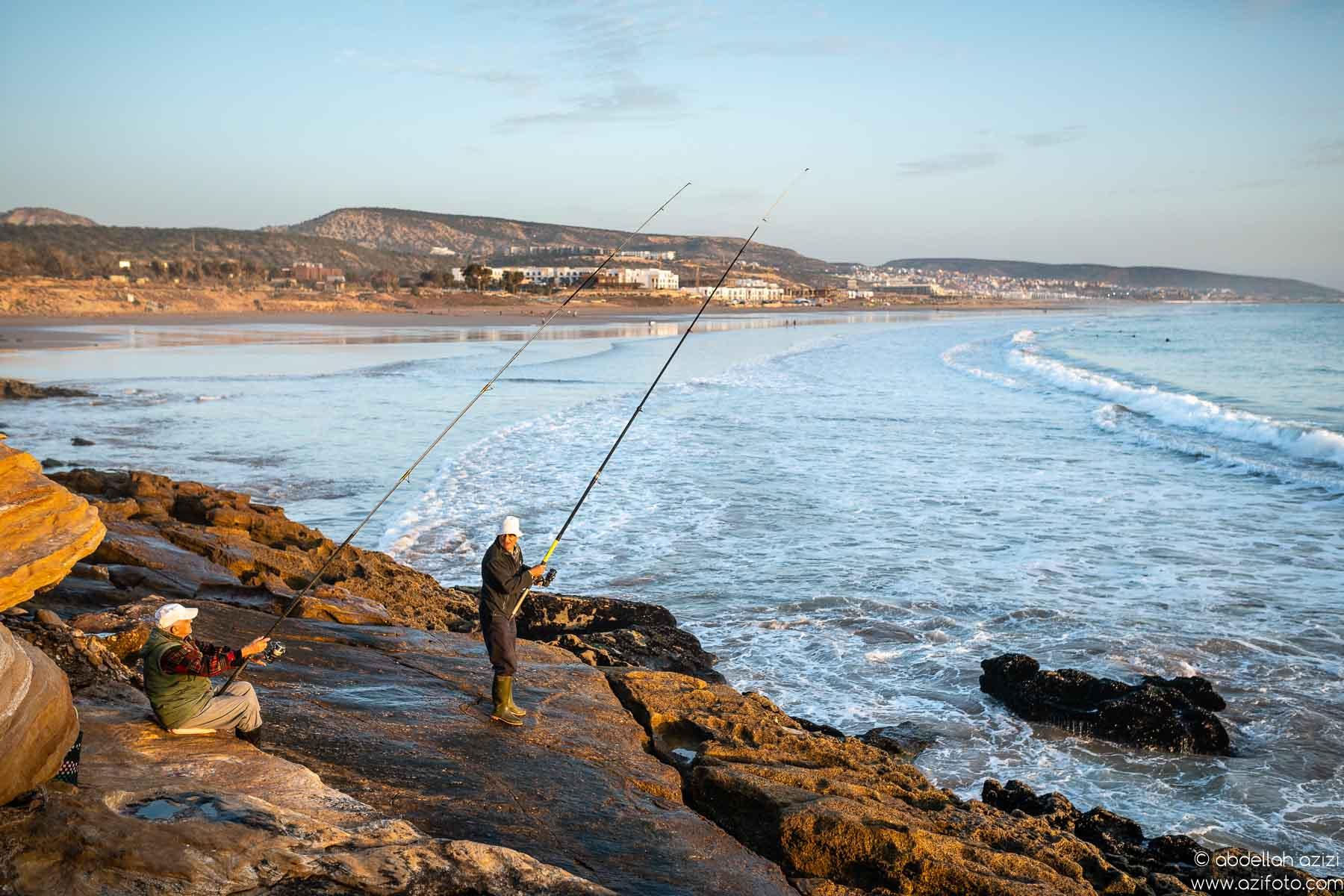 Fishing Taghazout beach, Morocco