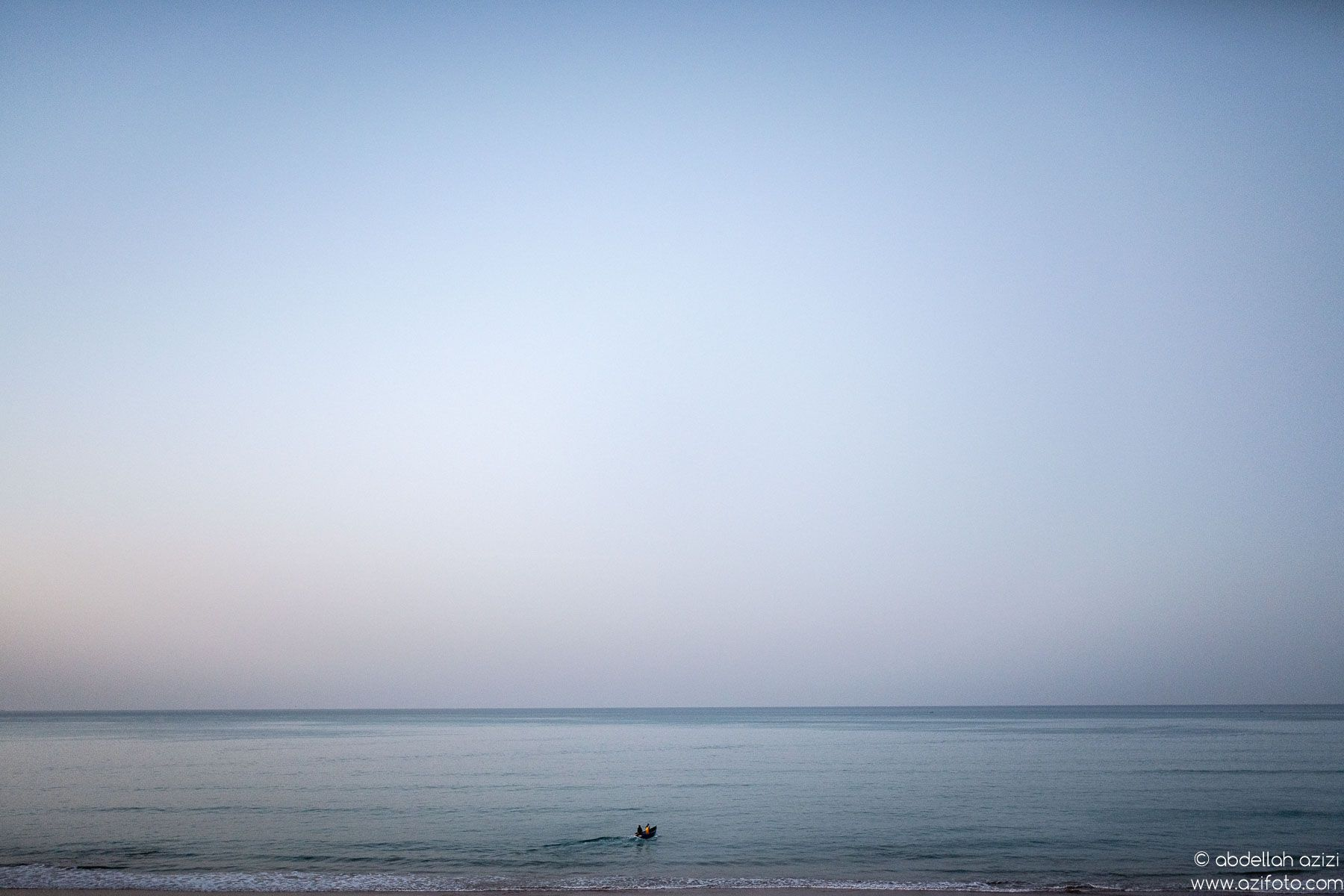 Fishing boat going to the ocean, Taghazout village, Morocco