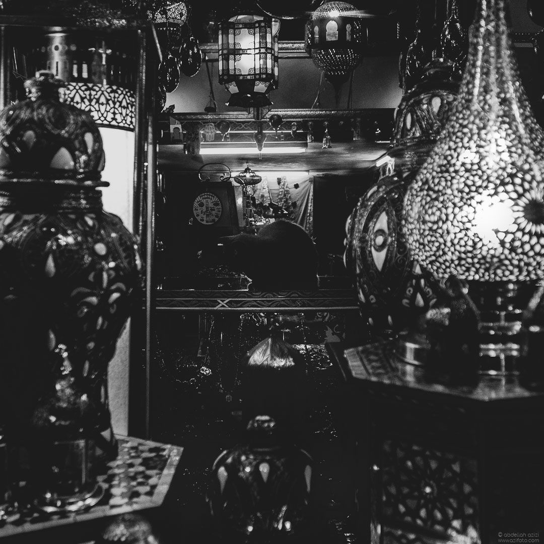 Antiques shop, Black and White, Tangier Morocco