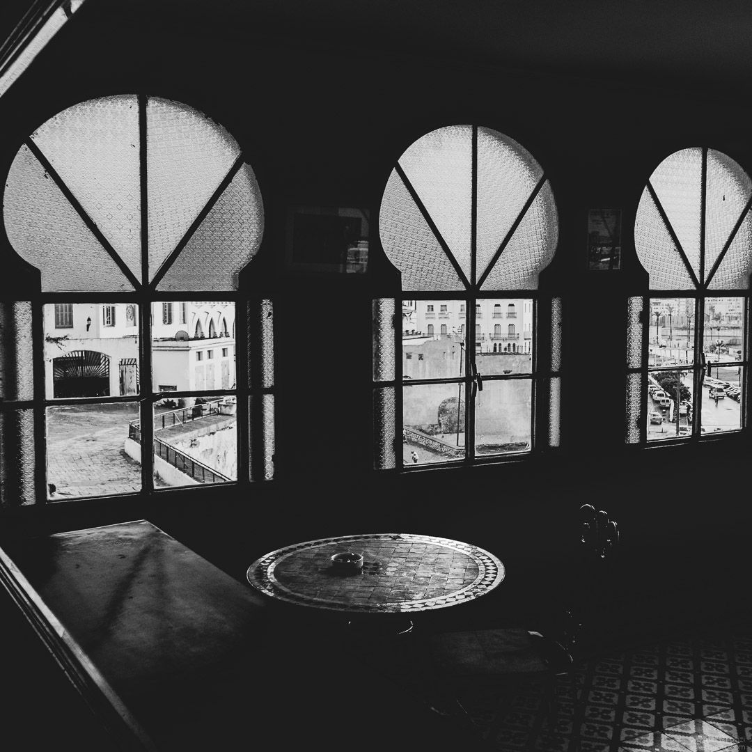 Coffee shop, Black and White, Tangier Morocco