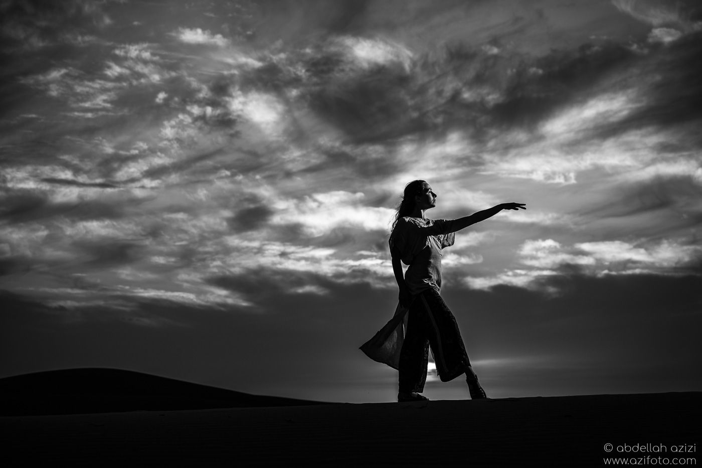 Black and white Desert dancer